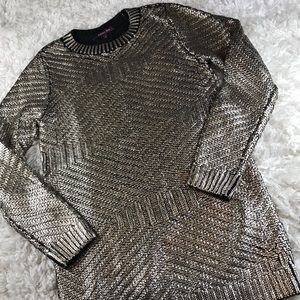 RACHEL Rachel Roy Sweaters - RACHEL ROY- METALLIC OVER BLACK 💯 COTTON SWEATER